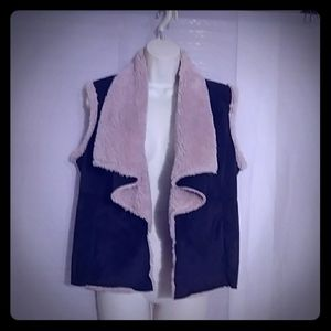 Faux suede & fur lined sleeveless Vest Lg